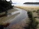 A creek crossing the beach