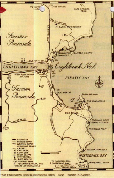 Historic Sites Map Eaglehawk Neck