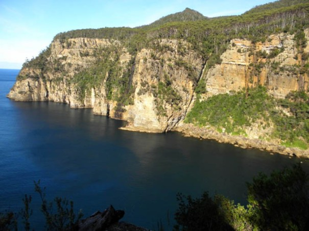 Photo: Arthur Orchard - the fabulous view from Waterfall Bay lookout, on a calm day. Note falls centre-left.