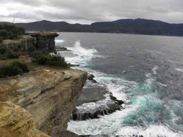 Photo: Arthur orchard - Outer side of Fossil Is taken from the lookout at The Blowhole – on a quiet day!