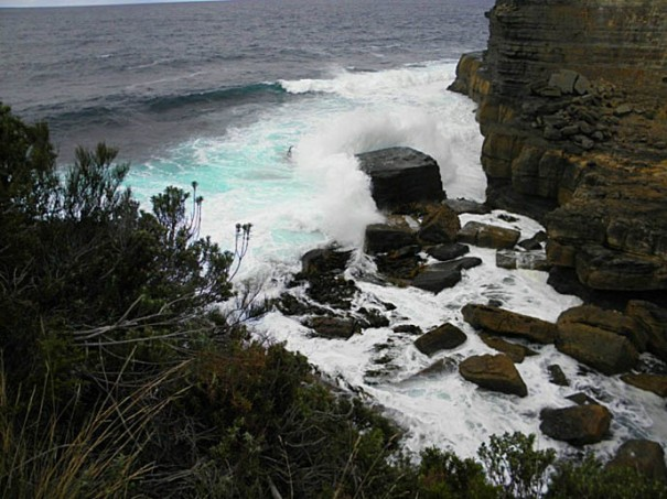 Photo: Arthur Orchard. – south easterly swell breaking near the Blowhole car-park.